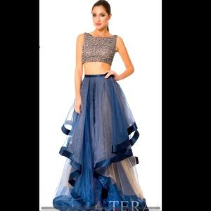 Terani Couture, 2-piece navy/nude, size 2, $310